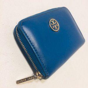 Tory Burch Leather Logo Zip Purse Wallet Key Chain